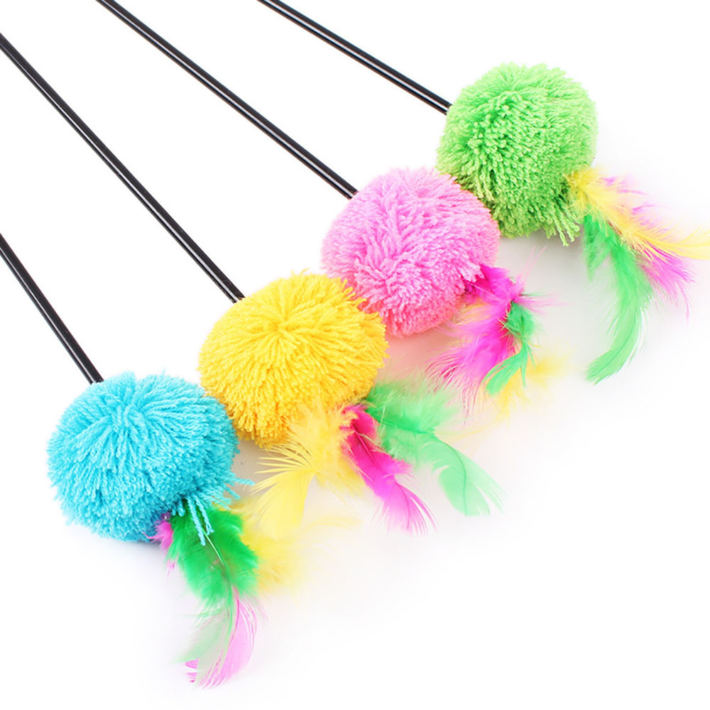 Pet Cat Interactive Toy Cute Design Bell And Bird Feather Teaser Wand Plastic Toy For Cats Color Multi Products For Pet