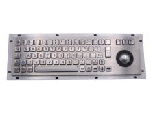 Stainless Steel Industrial Keyboard With Trackball 36mm Conductive Rubber Ruggedized Panel Mount Keypad For Information Kiosk