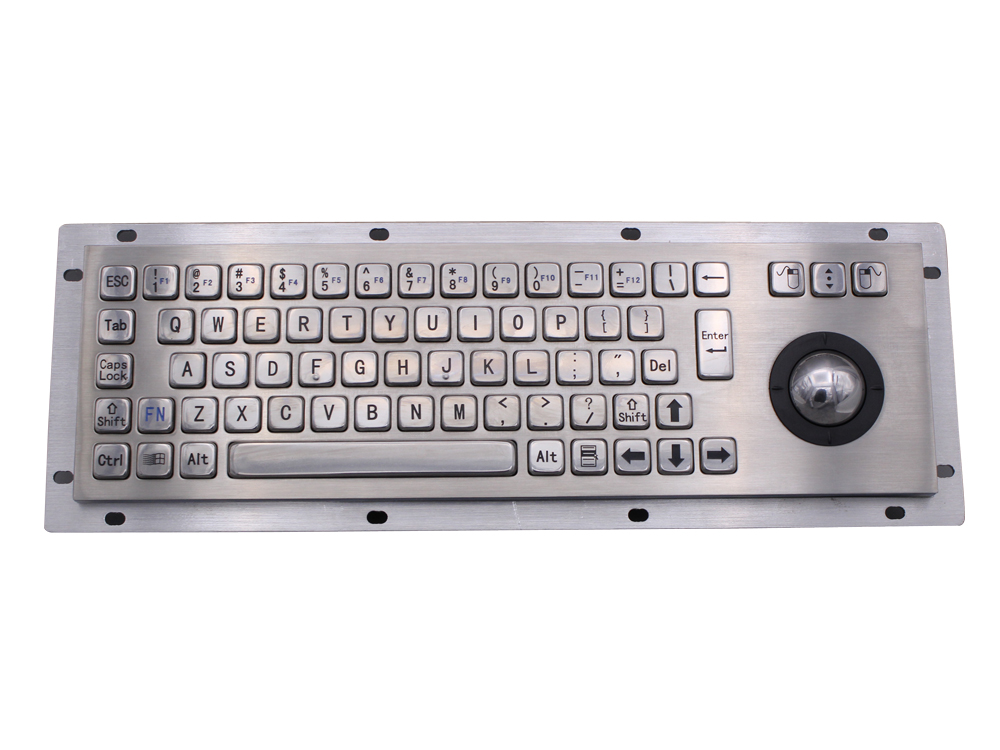 Stainless Steel Industrial Metal Keyboard With Trackball 36mm Conductive Rubber Rugged Panel Mount Keypad For Information Kiosk