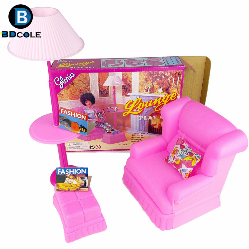 BDCOLE Lounge Play Set In Living Room Pretend Play Toys For Barbie  Dollhouse Including Sofa Vertical Lamp Foot Couch Pillow