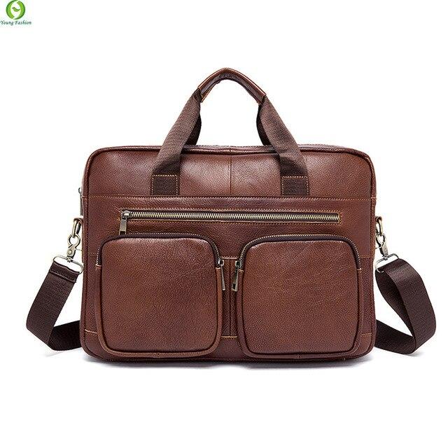 Fashion Genuine Leather Man Handbags Vintage Large Briefcase Men's crossbody messenger Bags Metal zipper shoulder Laptop Bag