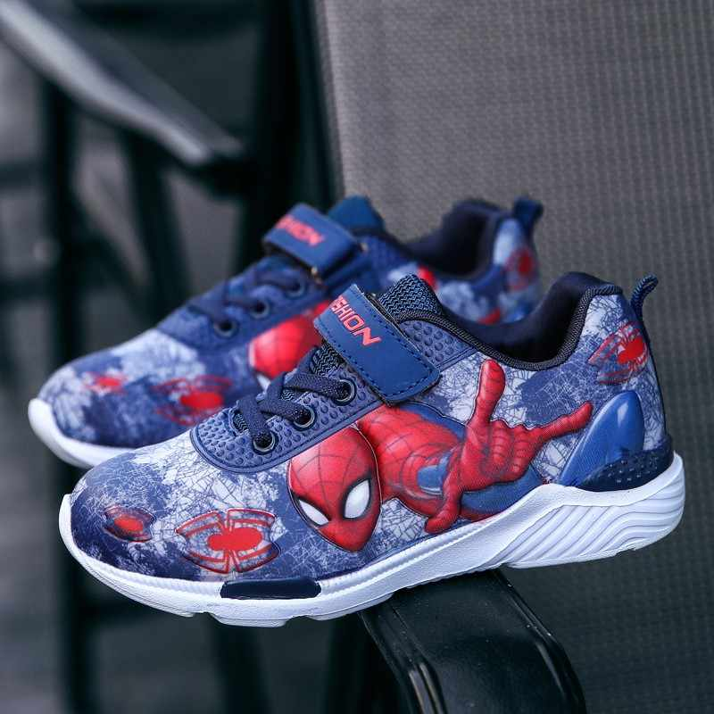 Autunno della molla Del Bambino Dei Bambini Spiderman Scarpe Ragazzi di Cuoio Dell'unità di elaborazione Comodo Sport Scarpe da Ginnastica Per Bambini Studente di Scuola Scarpe per le Ragazze