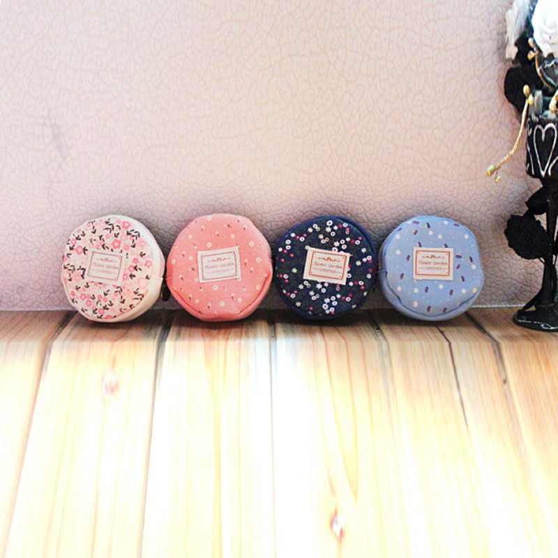 Home Storage Organization Floral Fabric Circular Zipper Coin Purse Wallets Admission Package A20