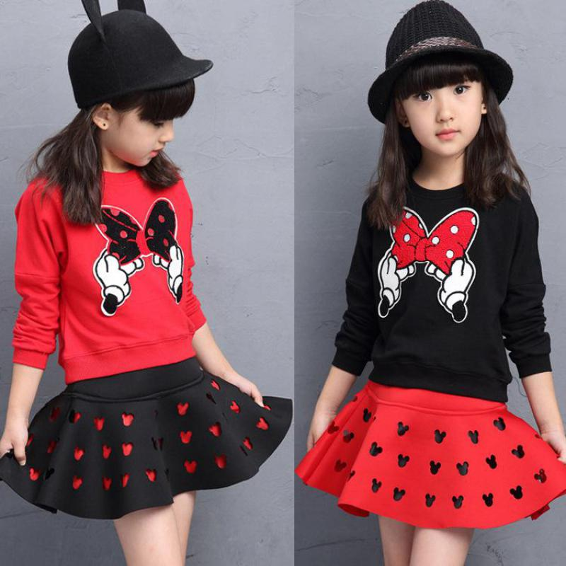 2017 Fashion Girls Clothing Set Minnie T-shirt + Skirt Polk Dot Bow Long-sleeve Pullover Kids Spring Autumn