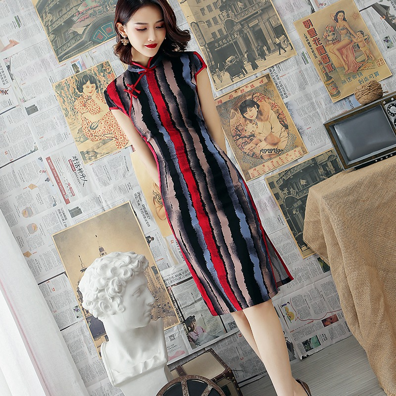 Mandarin Collar Vintage Cotton Linen Cheongsam Slim Long Summer New Vestidos Short Sleeve Qipao Chinese Traditional Women Dress
