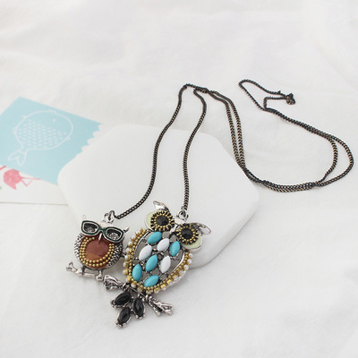 Hot sale sweater chain fashion jewelry necklace with oil pendant young people favourite necklace cute free shipping