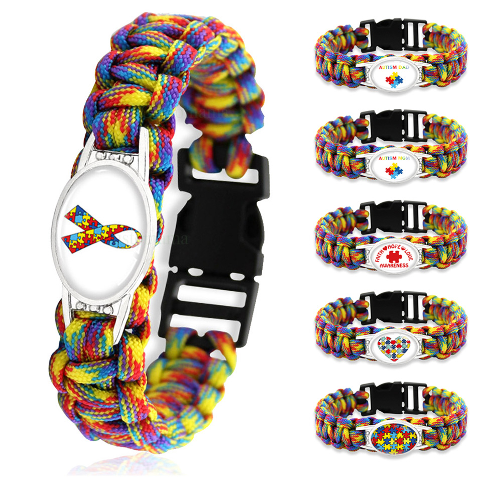 Puzzle Piece Autism Awareness Hope Colorful 25*18mm Glass Cabochon Outdoor Survival Paracord Charm Bracelets Men Women Jewelry(China)