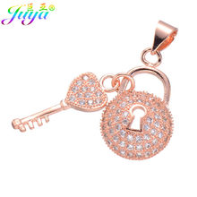 Handmade Jewelry Components Gold/Silver/Rose Gold Locket Heart Key Charm Pendant Accessories For Women Fashion Jewelry Making(China)