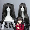 Fate/Stay Night Tohsaka Rin Cos Wig Black Synthetic Hair  80cm Long Anime Cos Wigs 235F