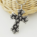 Fashion Stainless Steel Flowers Cross Pendant Necklace,PUNK ROCK, Wholesale Free shipping, WP668