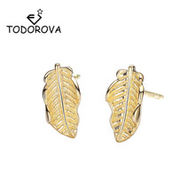 Todorova Vintage Trendy Leaf Stud Earrings Retro Plant Golden Statement Unique for Women Fashion Jewelry