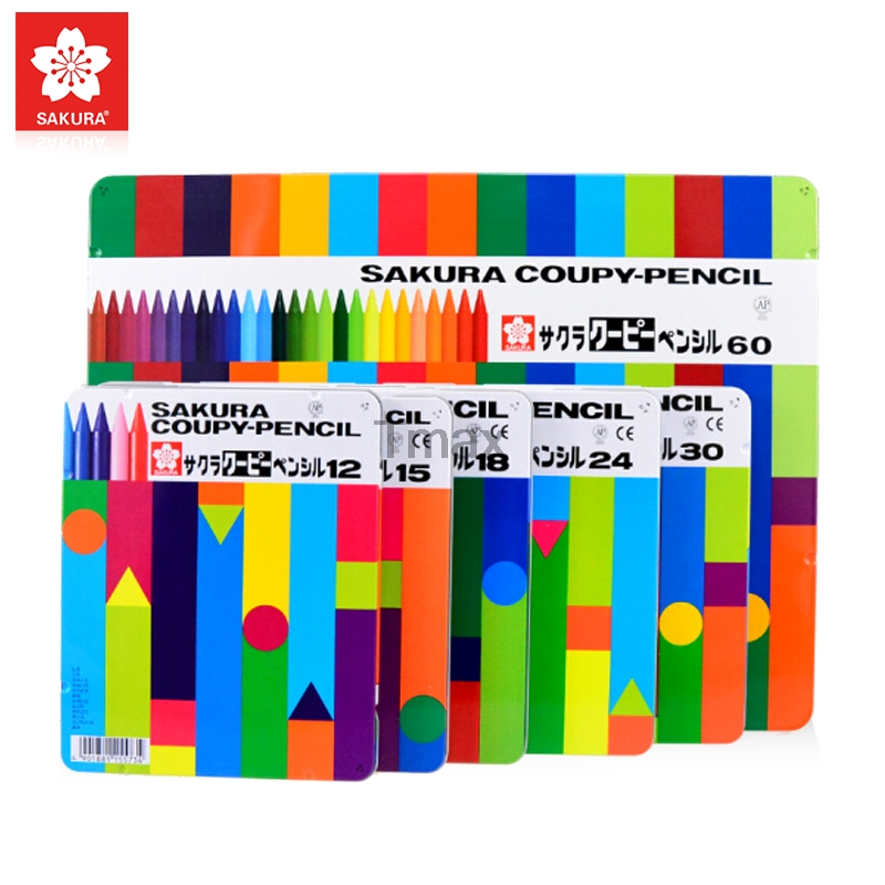 Sakura FY-18 Colorful Plastic Crayon with Tin box packing set Art School Supplies for Children Paint Brush