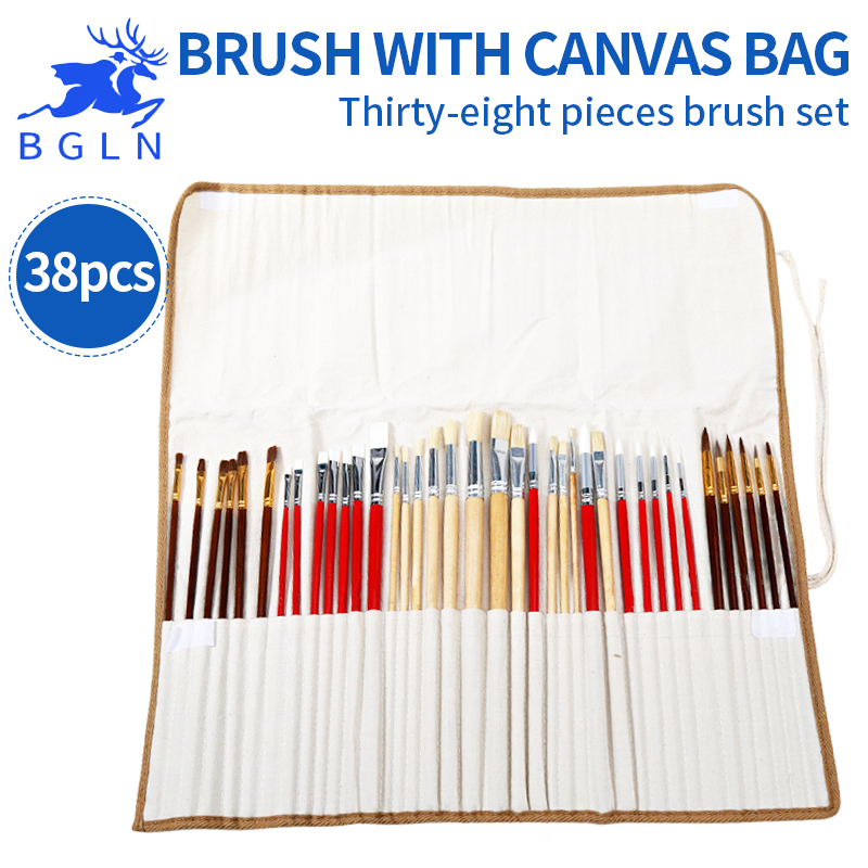 Super Vale 38Pcs Paint Brushes With Canvas Bag For Oil Acrylic Watercolor Multifunction Art Paint Brush For Drawing Stationery 14pcs different shape acrylic oil painting brush suit wooden handle brushes drawing tool paint pen with bag art supplies