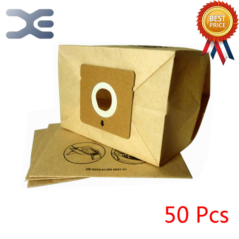 50Pcs High Quality Vacuum Cleaner Accessories Paper Bag Dust Garbage Bag ZR0039 / ZR0041 / RO1717 50pcs high quality vacuum cleaner accessories dust bag dust garbage paper bag zr814 ru100 rb880 820