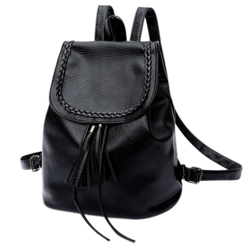 Fashion Korean Women Casual Backpack Leather Tassels Solid Color Drawstring Bags Big Capacity Girls School Shoulder Bag 2016 new fashion women backpack girls leather school bag women casual style shoulder bags sweet color