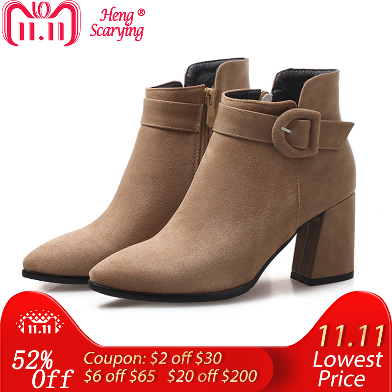 цена 2018 Plus Size Women 7.5cm High Heels Ankle Boots Thick Block Heels Winter Fall Plush Short Felt Boots Suede Booties Lady Shoes