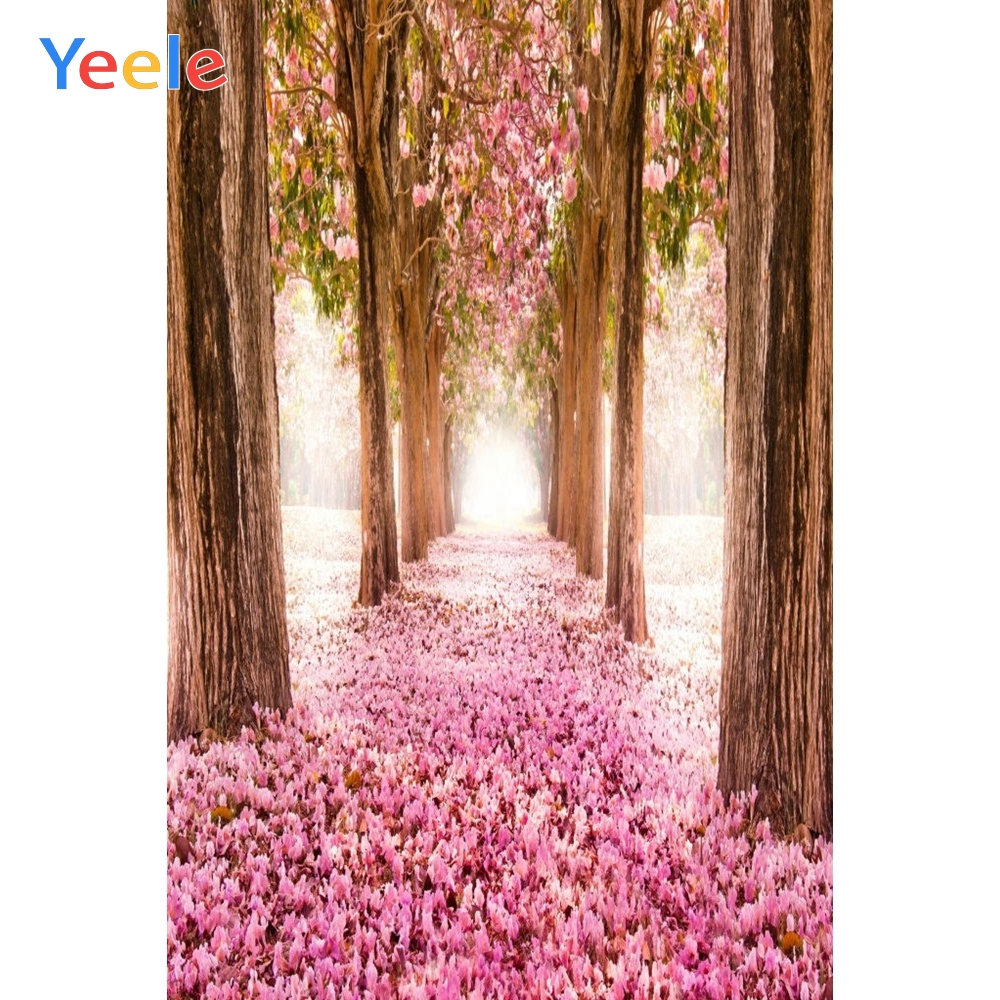 Yeele Fallen Flowers Road Trees Pink Wedding Girls Photography Backgrounds Personalized Photographic Backdrops For Photo Studio