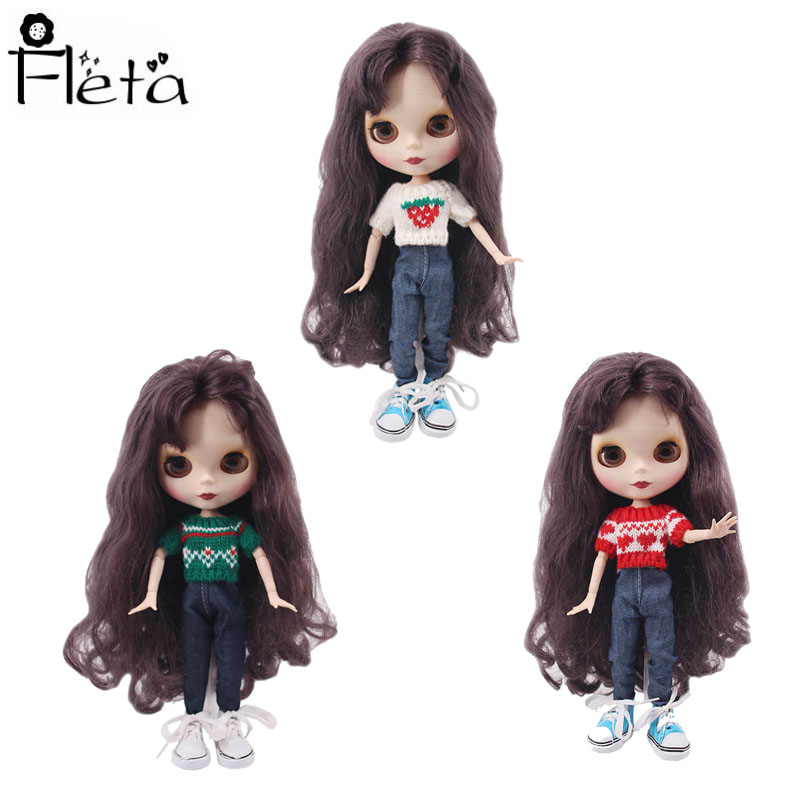 Blyth Barbies Dolls Clothes 15 Styles Clothes=Sweater+Jeans For BJD 30Cm 1/6 Blyth Doll Girl's Toys,Generation Christmas Gift