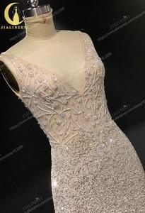 Image 4 - Rhein echt Bilder Tiefem V ausschnitt Sexy Voller Perlen Kristall Meerjungfrau Champagne Formale kleid prom kleider arabisch abendkleider lange