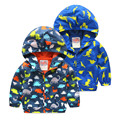 2016 Baby Boys Jackets Children Hooded Dinosaur Printed Outerwear Coats Sport Suit 2 3 4 5 6 years Kids Windbreaker Clothes