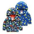 2016 Bebés Meninos Casacos Crianças Com Capuz Dinossauro Impresso Casacos Outerwear esporte Terno 2 3 4 5 6 anos Crianças Blusão roupas