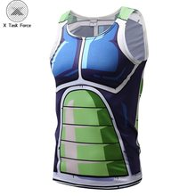 Nuevos hombres Bola de Dragón Z Vegeta Armor camisetas sin mangas Chaleco de culturismo Fitness camiseta Hipster 3D Anime tanques DBZ tanques X Task Force(China)