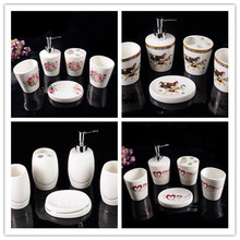 5PCS\set European mouthwash cup Toilet soap Box Liquid Bottle Continental Cups Ceramics bone china Bathroom set