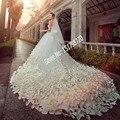 Con cuentas brillantes de Cristal de Tul Tren de La Catedral Del Applique Del Cordón de Lujo vestido de Novia con la flor 2017 Gorgeous Vestidos De Novia Blanco 3288