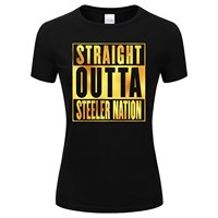 Gildan Złotą Folią męska Prosto Outta Nation Steeler Koszulka Czarny Kolor