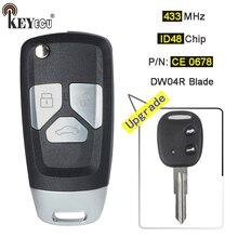 KEYECU 1x/ID48 2×433 mhz Chip de P/N: CE 0678, MODELO: RK950EUT Atualizado 3B DW04R Lâmina Virar Remoto Fob Chave Do Carro para Chevrolet Aveo