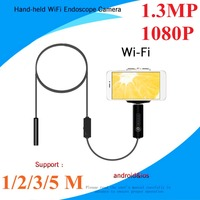 LESHP 8mm Lens Wifi Android Iphone Endoscope Camera 1M 2M 3M 5M Waterproof Hard Cable Borescope