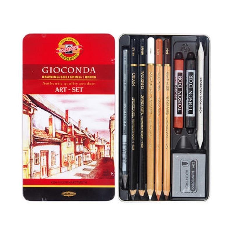GIOCONDA dessin & croquis & tonification art-set croquis maître Art Set maître poudre charbon de bois croquis crayon ensemble avec boîte de fer