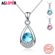 Genuine 925 Sterling Silver Water Drop Pendant Necklaces with Austrian Crystal Charm CZ Fashion Women Jewelry