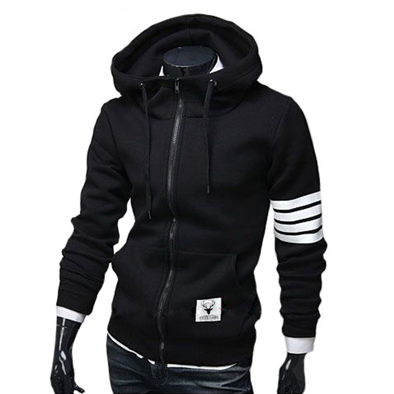 Noir Blanc Manches Zip-Up Hoodie Hommes M-3XL (Taille de L'asie)