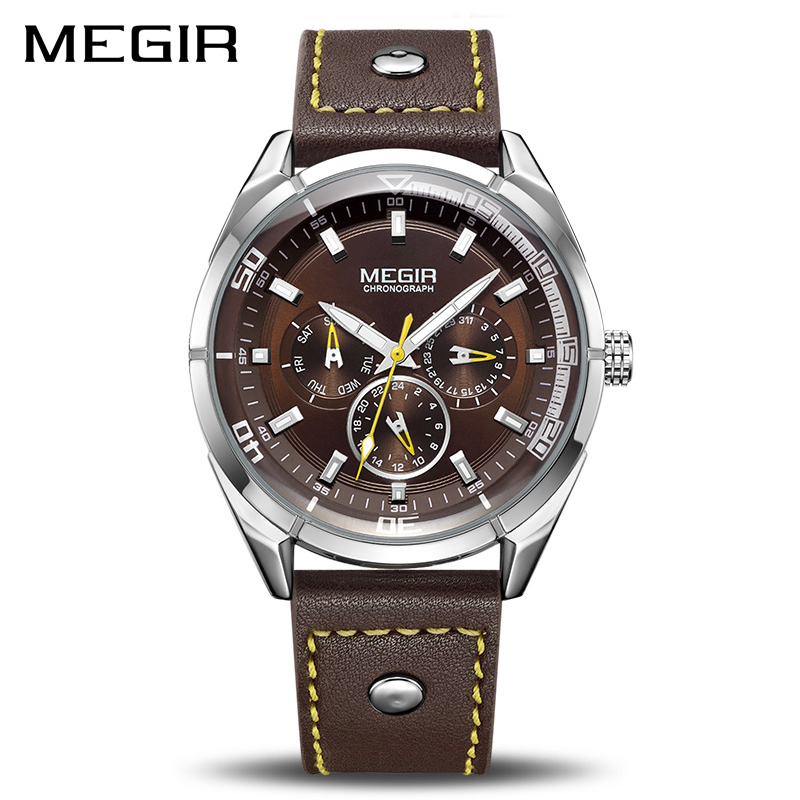 MEGIR Brand Quartz Men Watch Relogio Masculino Leather Strap Military Business Wrist Watches Men Clock Hour Time Erkek Kol Saati megir relogio masculino top brand luxury men watch leather strap chronograph quartz watches clock men erkek kol saati mens 2012
