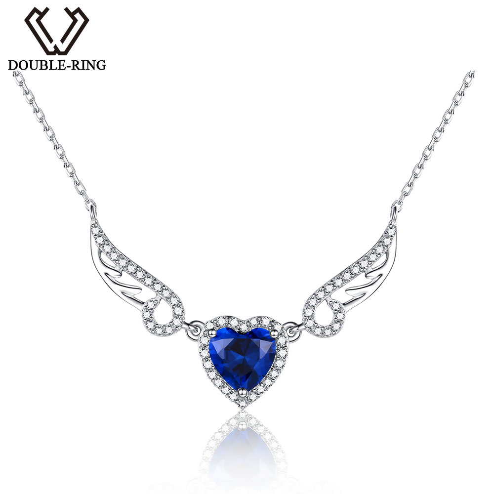DOUBLE-R Effective Jewellery Actual 925 Sterling Silver Coronary heart Pendant Created Sapphire Pendant Necklace for ladies necklace necklace, high quality jewellery, necklace wings,Low cost necklace necklace,Excessive High quality high...