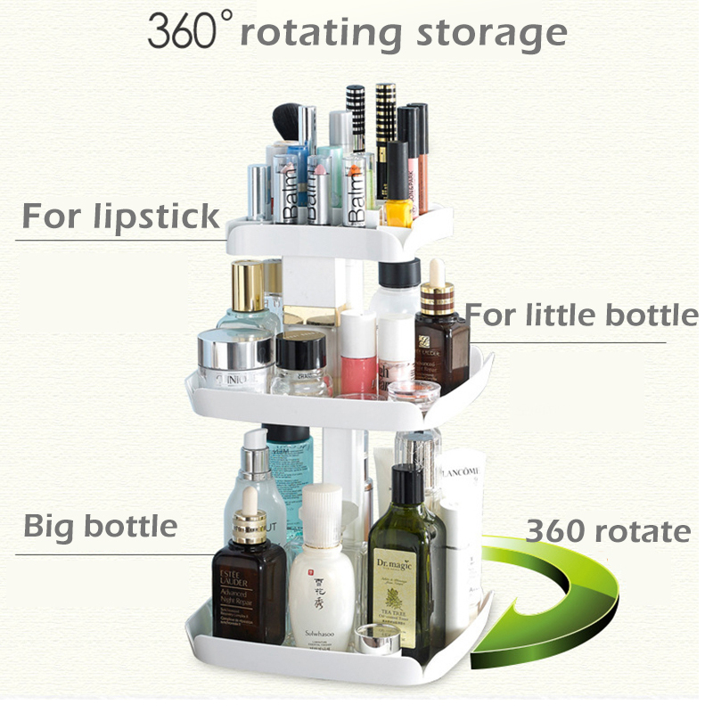 Image 5 - 360 Rotatable Cosmetic Organizer Plastic Makeup Container Tray Make Up Holder Boxes Basket Brush Desktop Bathroom Storage Rack-in Storage Boxes & Bins from Home & Garden
