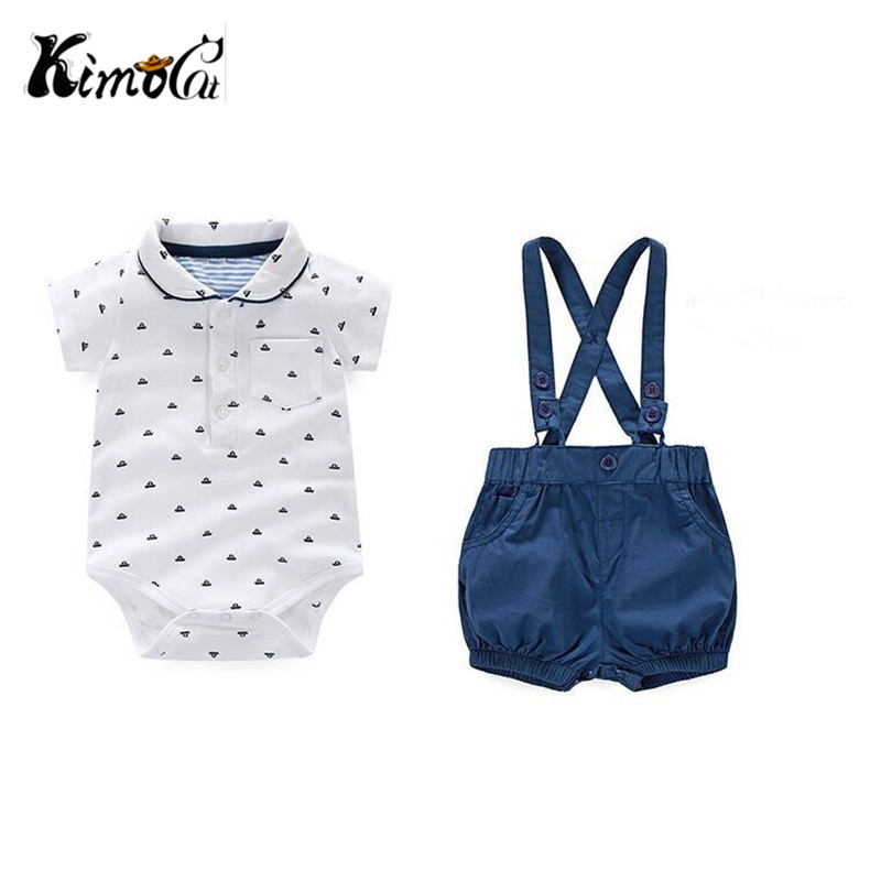 Kimocat Newborn Baby Boy Clothes Set Boy's college style cotton short-sleeved, short-sleeved, two-piece suit