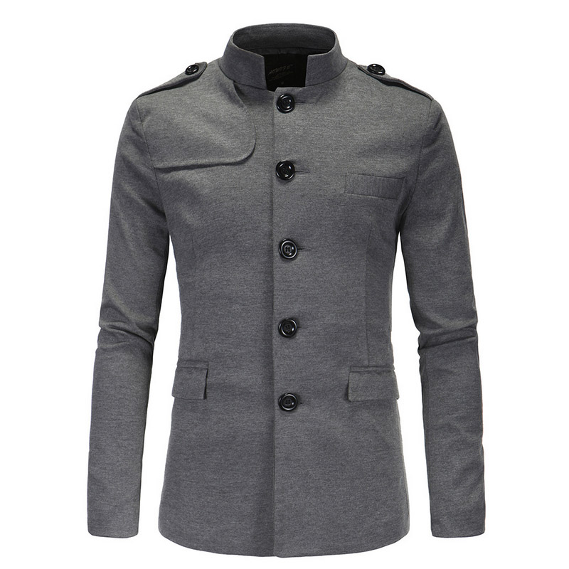 Top Quality 2019 Autumn Winter Men's Collar Suit Leisure Suit Chinese Tunic Suit Jacket Stand Collar Blazer Masculino Blazers