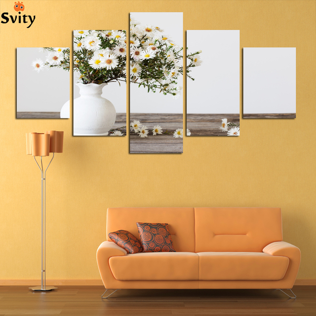 Direct factory price!Modern wall art decor 5 pieces white pink rose ...