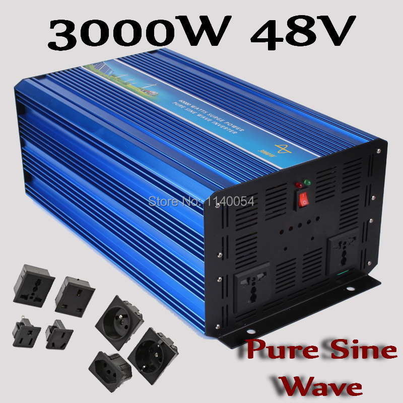 3000W Solar Wind Power System Inverter 48V DC to AC 100-120V or 220-240V, Pure Sine Wave Output 3000W off grid Inverter 48V