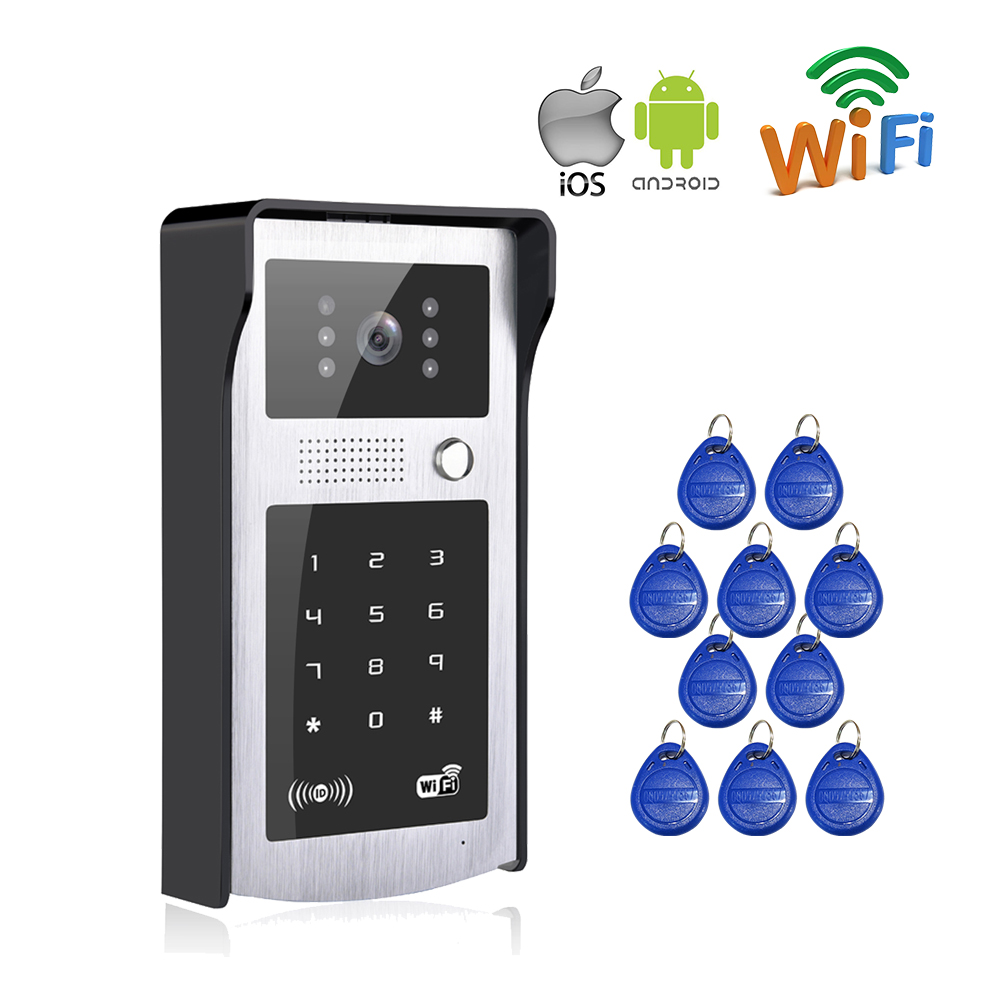 Free Shipping New Wifi Video Door Phone Intercom Metal Outdoor Doorbell with Touch RFID Code Keypad APP for IOS Android Phone brand new wifi wireless video door phone door bell intercom systems app can be run in android and ios devices free shipping