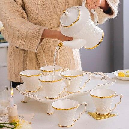 Europäische Keramik Haushalt Tee Tasse Set Einfache Wohnzimmer Wasser Mit Wärme beständig Tee Set Teekanne Kreative Kaffee Becher wasser Tasse - 3