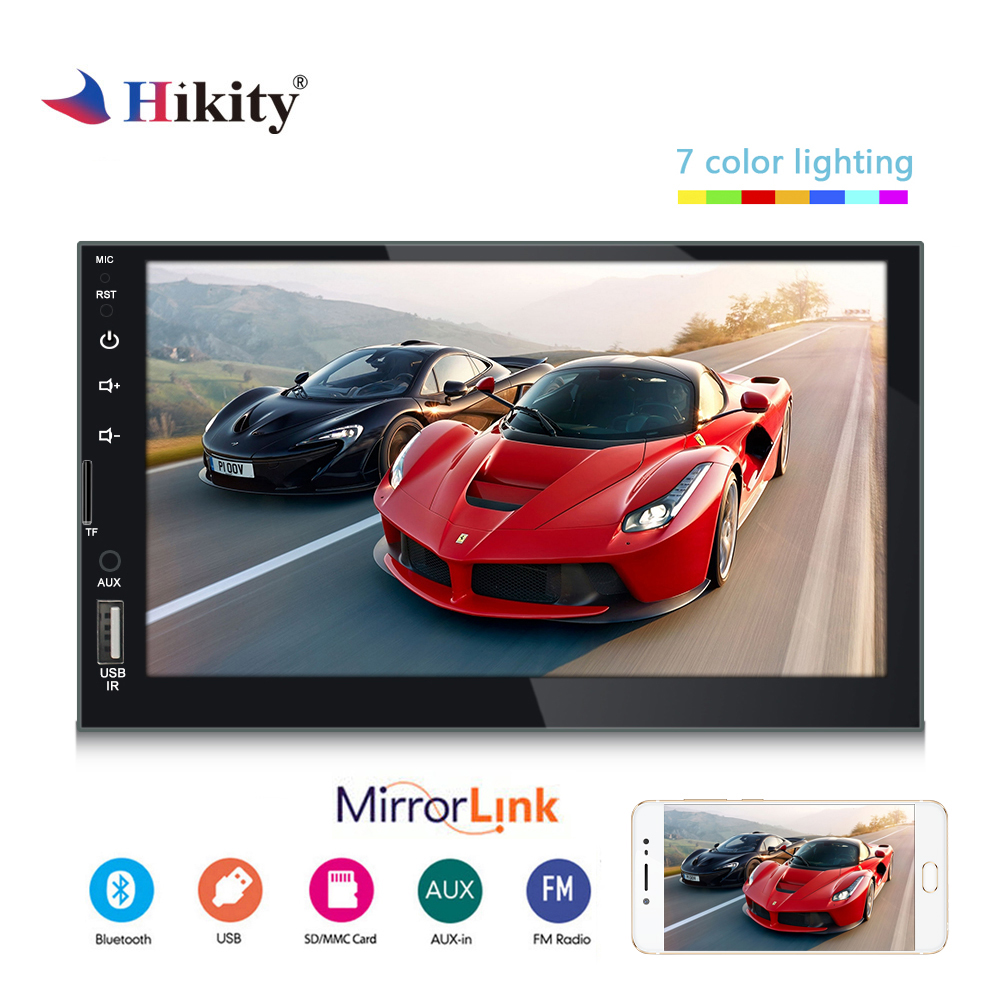 "Hikity 7080B Double Din Car Radio 7"" Mirror Link Bluetooth Hands-free Calls MP5 Car Player Support USB / TF / AUX/ Rear Camera"
