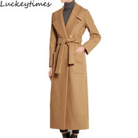 2016 New Winter Long Camel Wool Women Coat Ladies Slim Double Breasted Turn Down Collar Basic
