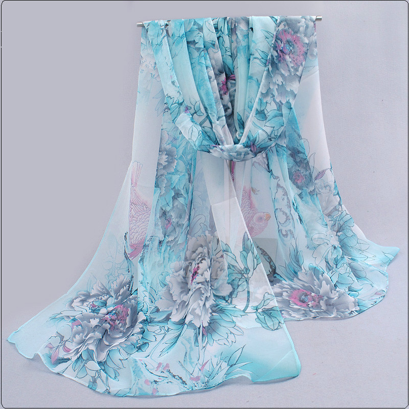 Chiffon Silk Scarf Floral Printed New Design Elegant Soft Wraps Flower Scarves For Women AA10032