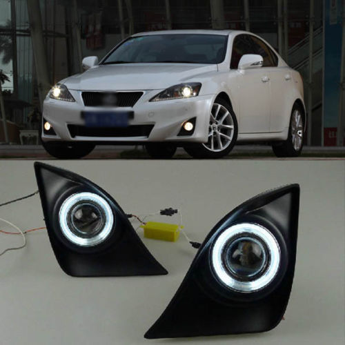 Ownsun Innovative Super COB Fog Light Angel Eye Projector Lens for Lexus IS250 IS300 ownsun innovative chrome super cob fog light angel eye bumper cover for mitsubishi asx