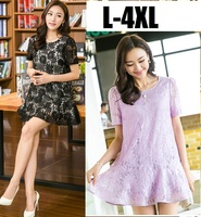 2015 new summer Casual loose fit elegant Lace flare Dress lining junior short puff Sleeve O neck vestidos plus size XXXXL 5205