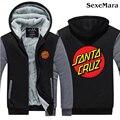Santa Cruz Logo Hoodies Coat Printed Casual Zipper Cardigan Jacket Thicken Men Fleece Coat Loose Sweatshirt Big Yards