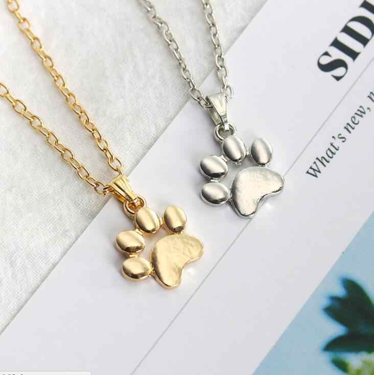 High Quality Hot Fashion Cute Pets Dogs Footprints Paw Chain Pendant Necklace Jewelry for Women Sweater necklace Top best gift